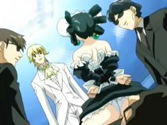 Animated maid drilled by kinky group