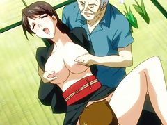 Old and young dude fucking the holes of hentai girl
