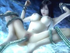 Curvy 3D hentai babe attacked by scary tentacle monster