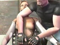 Sexy 3D blonde forced to swallow big cock before getting bent