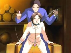 Babe in chains cums on pecker in anime