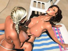 Two topless 3D bombshells with enormous boobs going lesbo