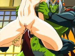 Anime chick with huge tits get fucked by green monster mans cock