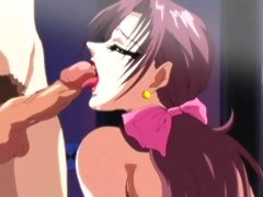 Horny hentai chick with mega boobs gets double cock